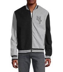 nana judy men's colorblock cotton bomber jacket - black grey - size s
