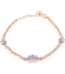 bracciale fiore di loto in acciaio rosato e cristalli per donna