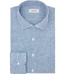 camicia da uomo su misura, albini, lino pied de poule blu, primavera estate | lanieri