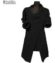 zanzea invierno de las mujeres cuello de la capucha jumper capa de la chaqueta del suéter blusas tops outwear pullover negro -negro