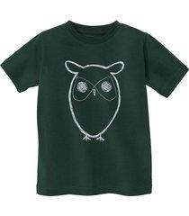 shirt met korte mouw uil van bio-katoen, groen 122/128