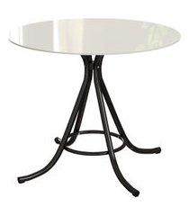 mesa de jantar redonda com tampo de vidro irvine off white e preta 90 cm