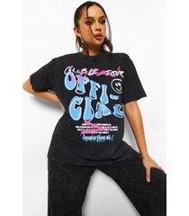tall acid wash gebleekt graffiti t-shirt, charcoal