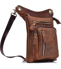 borsa a tracolla per borsa da uomo con tracolla in pelle da 8 pollici, in vera pelle, multifunzionale