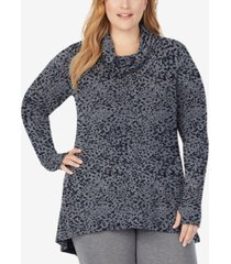 cuddl duds plus size softwear with stretch long-sleeve cowlneck tunic