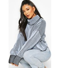 2 tone rib crop roll neck sweater, pastel blue