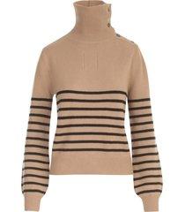 aspesi bicolor high neck sweater