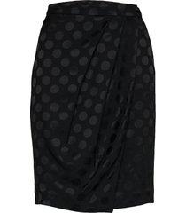 karl x carine satin dot skirt knälång kjol svart karl lagerfeld