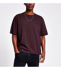 river island mens dark purple chest pocket boxy fit t-shirt