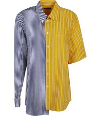 asymmetric colourblock stripe shirt