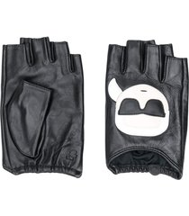 karl lagerfeld logo print fingerless gloves - black