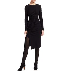 asymmetric ruched jersey dress
