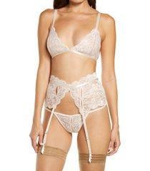 women's oh la la cheri bralette, g-string & suspenders set, size large/x-large - pink