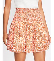 loft leopard print smocked pull on skirt