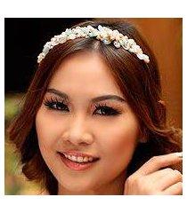 pearl and rose quartz flower headband, 'spring garland' (thailand)