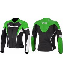 kawasaki ninja motorcycle leather jacket black green ce pads hump paddings xs-6x