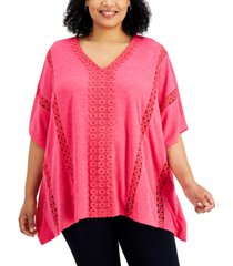 jm collection plus size crochet-trim poncho top, created for macy's