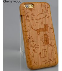 natural wood for iphone7 6 6s plus cats carved  hard back  phone case  protector