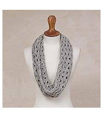 alpaca blend infinity scarf, 'stylish trend in smoke' (peru)
