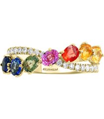 effy multi-sapphire (1-3/8 ct. t.w.) & diamond (1/4 ct. t.w.) ring in 14k gold