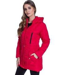jaqueta sobretudo acolchoado chillan bolso com zíper capuz removível vermelho