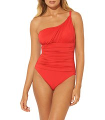 women's bleu by rod beattie twist & shout one-piece swimsuit, size 10 - red