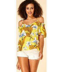 yoins blusa amarilla con hombros descubiertos y estampado floral con borde de lechuga