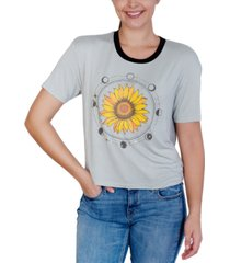 rebellious one juniors' sunflower-graphic ringer t-shirt