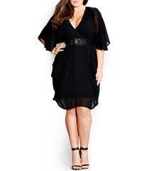 plus size women's city chic sequin wrap front dress, size x-large - black