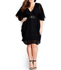 plus size women's city chic sequin wrap front dress, size small - black