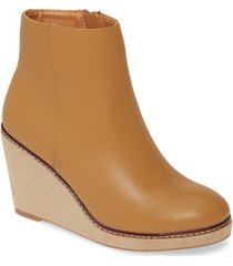 kensie hatley wedge bootie, size 7.5 in almond leather at nordstrom