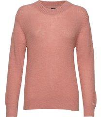 d2. ribbed woolblend crew gebreide trui roze gant