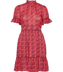 printed dress with ladder lace korte jurk rood scotch & soda