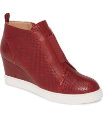 women's linea paolo 'felicia' wedge sneaker, size 10.5 m - burgundy