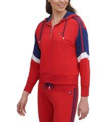 tommy hilfiger sport women's half-zip colorblocked hoodie
