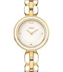 my way goldtone stainless steel & ceramic bracelet watch