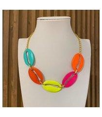 colar com maxi búzio colorido multicolorido