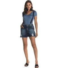 jardineira jeans eventual com bolsos e barra desfiada 2045022758 azul 46 - feminino