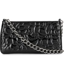 chanel pre-owned 2004 embossed camellia clutch - black