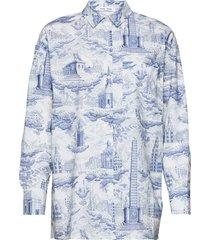 loraine shirt aop 11332 overhemd met lange mouwen blauw samsøe samsøe