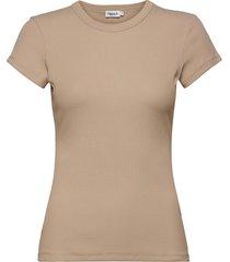 fine rib tee t-shirts & tops short-sleeved beige filippa k