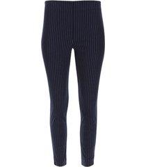 pantalón cigarette lineas verticales color azul, talla 10