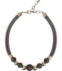 colar armazem rr bijoux fio brilhoso bolas douradas - cinza - feminino - dafiti