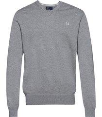 classic cott. v/n jmpr stickad tröja v-krage grå fred perry