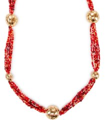 """style & co gold-tone ball & seed bead multi-strand necklace, 35-1/2"""" + 3"""" extender, created for macy's"""