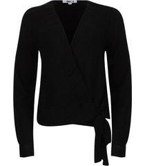 blusa cruzada unicolor color negro, talla 14