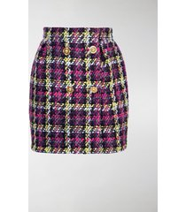versace buttoned check tweed skirt