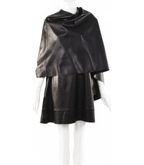 valentino 2019 leather cape dress black sz: m