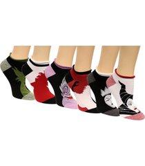 disney women's 6-pk. assorted villains no-show socks