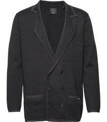 new longer length double breasted knitted blazer blazer kavaj blå scotch & soda